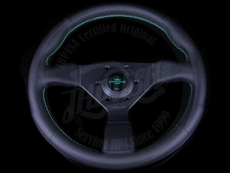 Personal Neo Grinta Steering Wheel Black Leather & Green Stitching w/ Black Spokes & Green Center Ring - 330mm