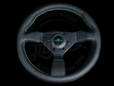 Personal Neo Grinta Steering Wheel Black Suede / Green Stitching w/ Black Spokes & Green Center Ring - 330mm
