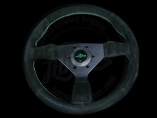 Personal Neo Grinta Steering Wheel Black Suede / Green Stitching w/ Black Spokes & Green Center Ring - 350mm