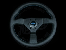 Personal Neo Grinta Steering Wheel Black Perforated Leather / Baby Blue Stitching w/ Black Spokes & Baby Blue Center Ring - 350mm