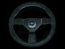 Personal Neo Grinta Steering Wheel Black Suede / Baby Blue Stitching w/ Black Spokes & Baby Blue Center Ring - 330mm