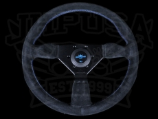Personal Neo Grinta Steering Wheel Black Suede / Baby Blue Stitching w/ Black Spokes & Baby Blue Center Ring - 350mm