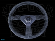 Personal Neo Grinta Steering Wheel Black Suede w/ Black Stitching & Spokes w/ Silver Center Ring - 350mm