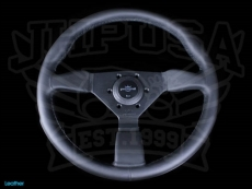 Personal Neo Grinta Steering Wheel Black Perforated Leather w/ Black Stitching & Spokes w/ Silver Center Ring - 350mm