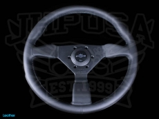 Personal Neo Grinta Steering Wheel Black Leather w/ Black Stitching & Spokes w/ Silver Center Ring - 350mm