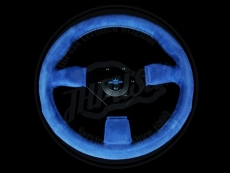 Personal Neo Grinta Steering Wheel Blue Suede w/ Black Stitching & Spokes w/ Blue Center Ring - 330mm