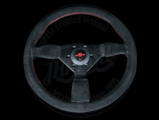 Personal Neo Grinta Steering Wheel Black Suede w/ Red Stitching & Black Spokes w/ Red Center Ring - 350mm