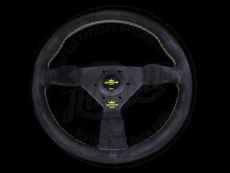 Personal Neo Grinta Steering Wheel Black Suede w/ Yellow Stitching & Black Spokes w/ Yellow Center Ring - 350mm (w/ Yellow Logo Bottom Spoke)