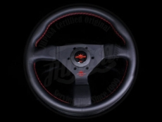 Personal Neo Grinta Steering Wheel Black Leather w/ Red Stitching & Black Spokes w/ Red Center Ring - 350mm (w/ Red Logo Bottom Spoke)