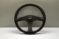 Personal Grinta Blitz Steering Wheel Black Polyurethane w/ Black Stitching & Spokes w/ Yellow Center Ring - 330mm