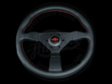 Personal Neo Grinta Steering Wheel Black Perforated Leather w/ Red Stitching & Black Spokes w/ Red Center Ring - 350mm