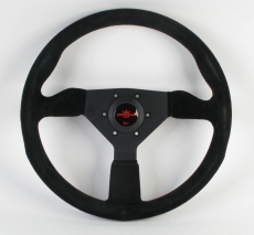 Personal Fitti Corsa Steering Wheel Black Suede w/ Red Stitching & Black Spokes w/ Red Center Ring - 350mm