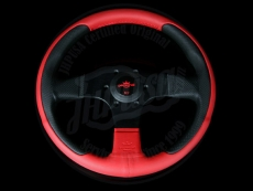 Personal New Racing Steering Wheel Black/Red Perforated Leather w/ Black Spokes & Red Center Ring - 320mm