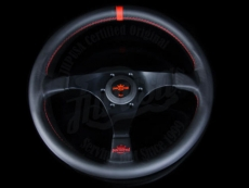 Personal Rally Trophy Steering Wheel Black Leather w/ Red Stitching & Black Spokes w/ Red Center Ring - 350mm
