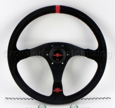 Personal Rally Trophy Steering Wheel Black Suede w/ Red Stitching & Black Spokes w/ Red Center Ring - 350mm