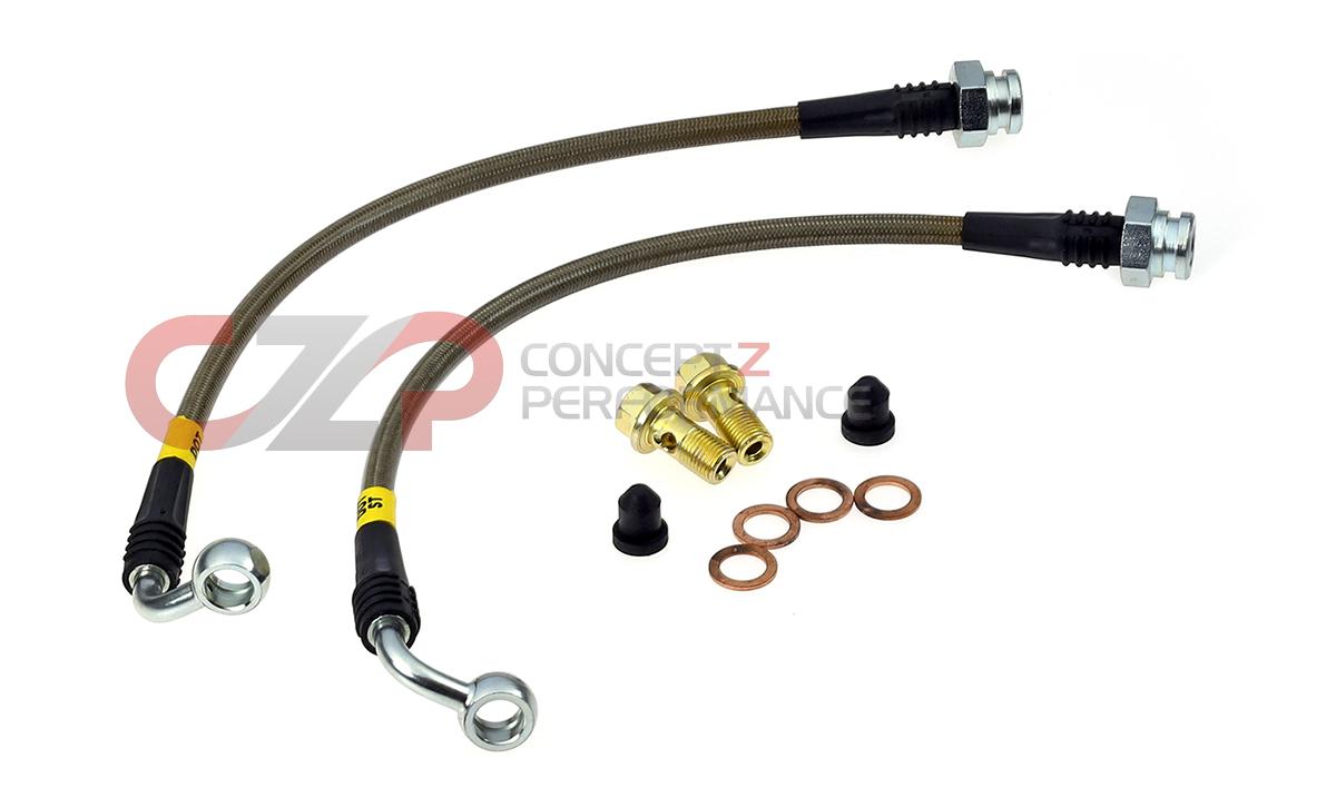Pro Braking PBK1221-CAR-SIL Front//Rear Braided Brake Line Carbolook Hose /& Stainless Banjos