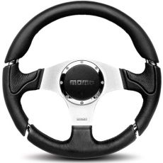 Momo Millenium Black Leather, Silver Spokes with Chrome Detail, 350mm
