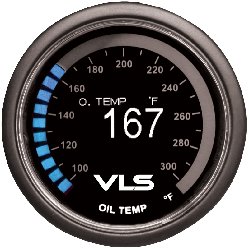 Revel VLS Oil Temperature Gauge 52mm, 100°F to 300°F Digital OLED Display w/ Oil Temperature Sensor & Mounting Kit