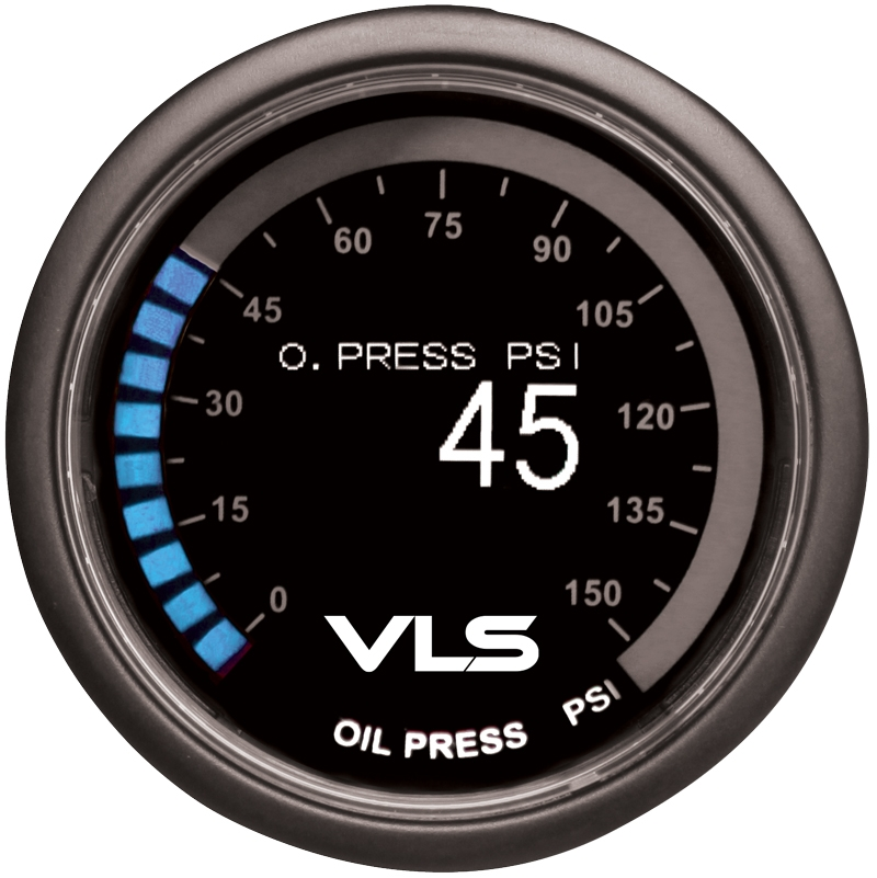 Revel VLS Oil Pressure Gauge 52mm, 0PSI to 150PSI Digital OLED Display w/ Oil Pressure Sensor & Mounting Kit