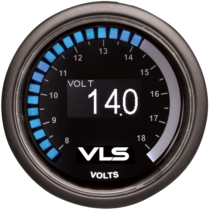 Revel VLS Voltage Gauge 52mm, 8 Volts to 18 Volts Digital OLED Display w/ Mounting Kit