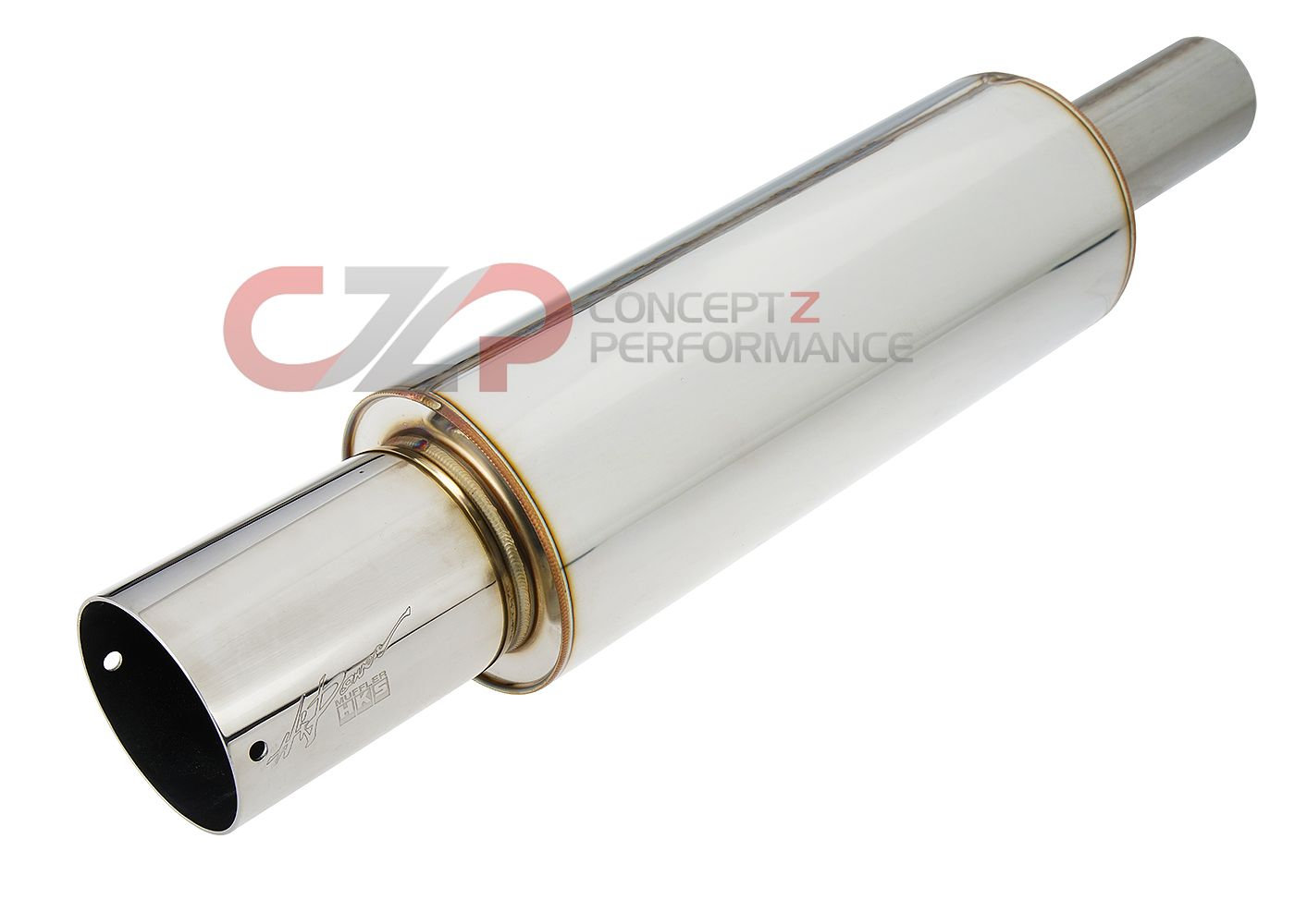 "HKS Universal Stainless Hi-Power Muffler, 60mm Piping / 94mm Tip (2.5"" Piping / 3.75"" Tip)"