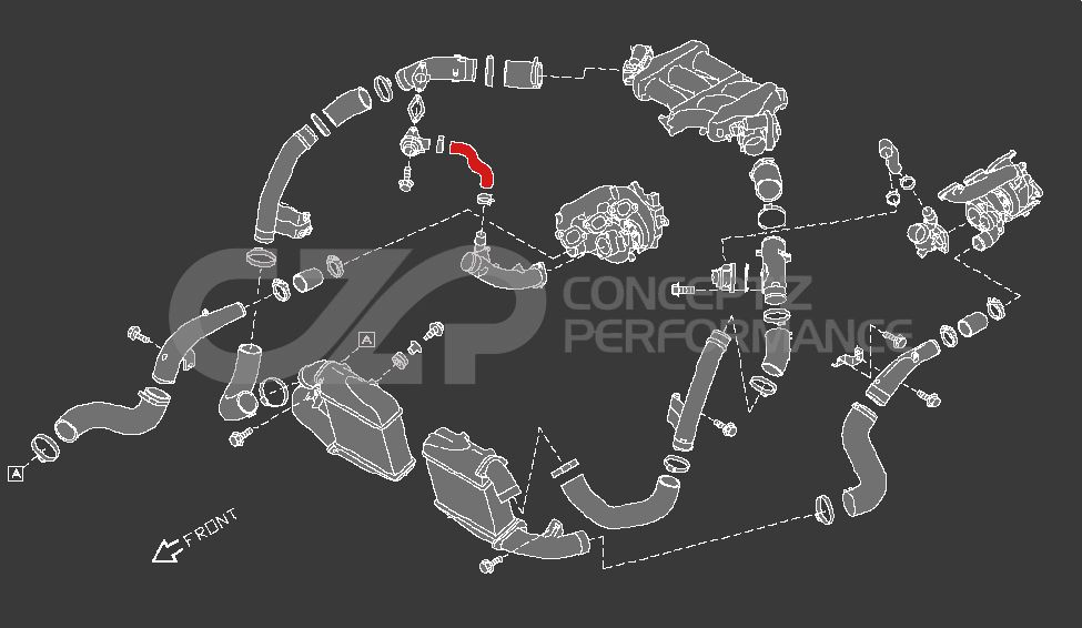 Nissan OEM Recirculation Valve to Turbo Air Inlet Hose RH - Nissan GT-R R35