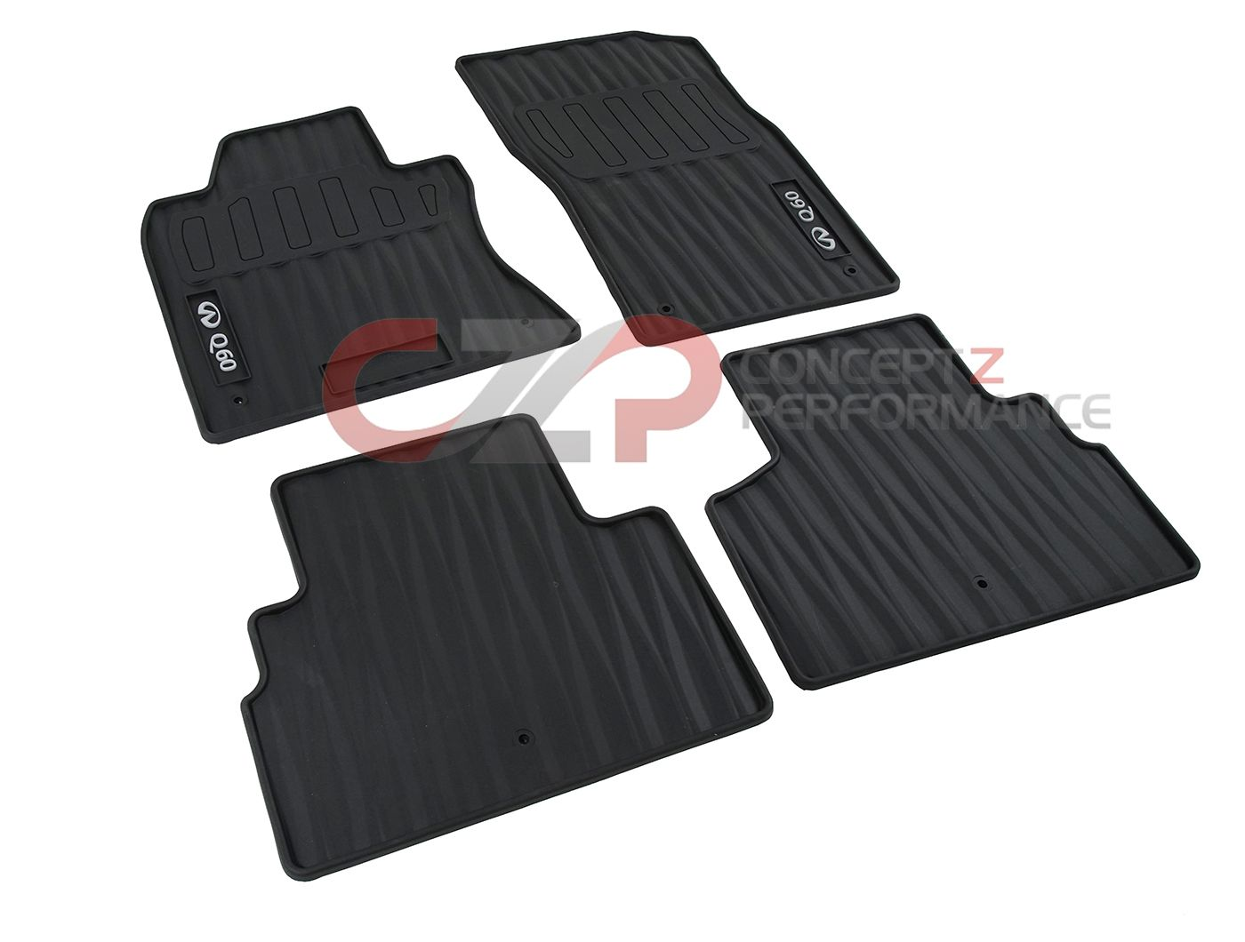 Infiniti OEM All-Season Floor Mats, Black w/ Gray Logo - Infiniti Q60 17+ Coupe