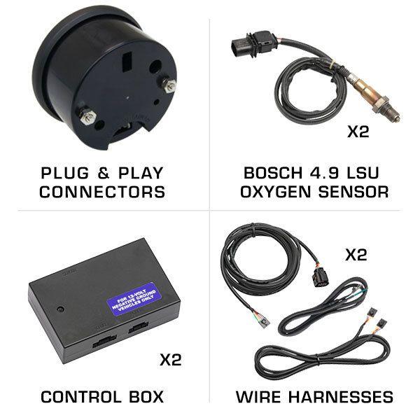 GlowShift White Dual Wideband Air//Fuel Ratio Gauge Bosch Oxygen Sensors