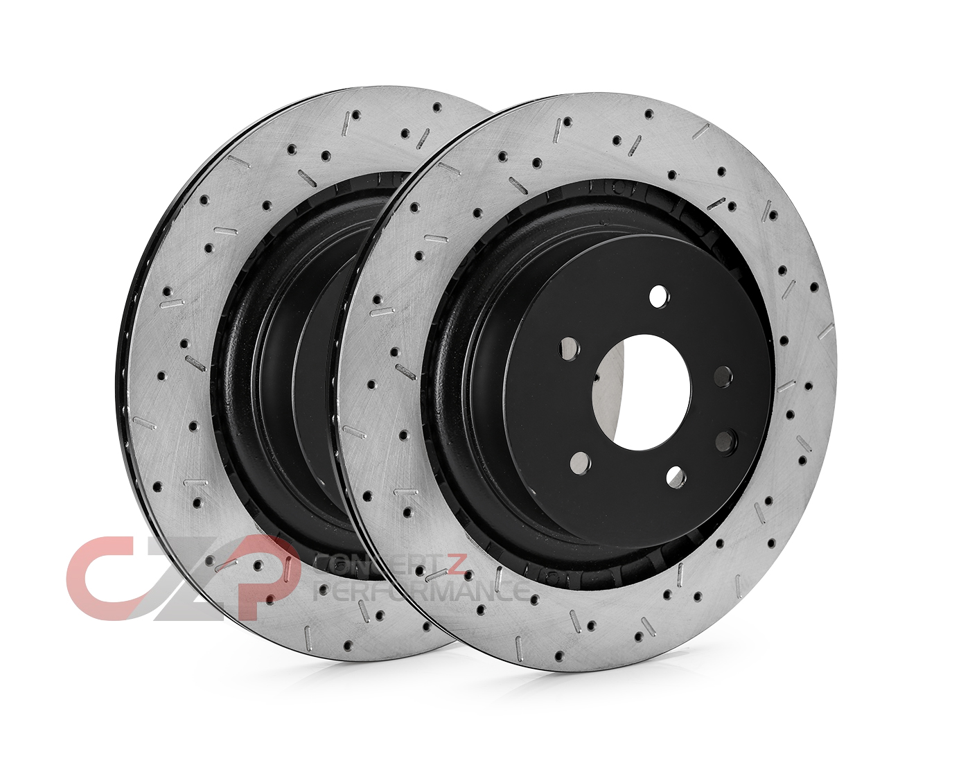 Centric Brake Front Rotor Set, DBA Style Drilled/Slotted Set, Akebono Sport Caliper - Nissan 370Z / Infiniti G37 Q60