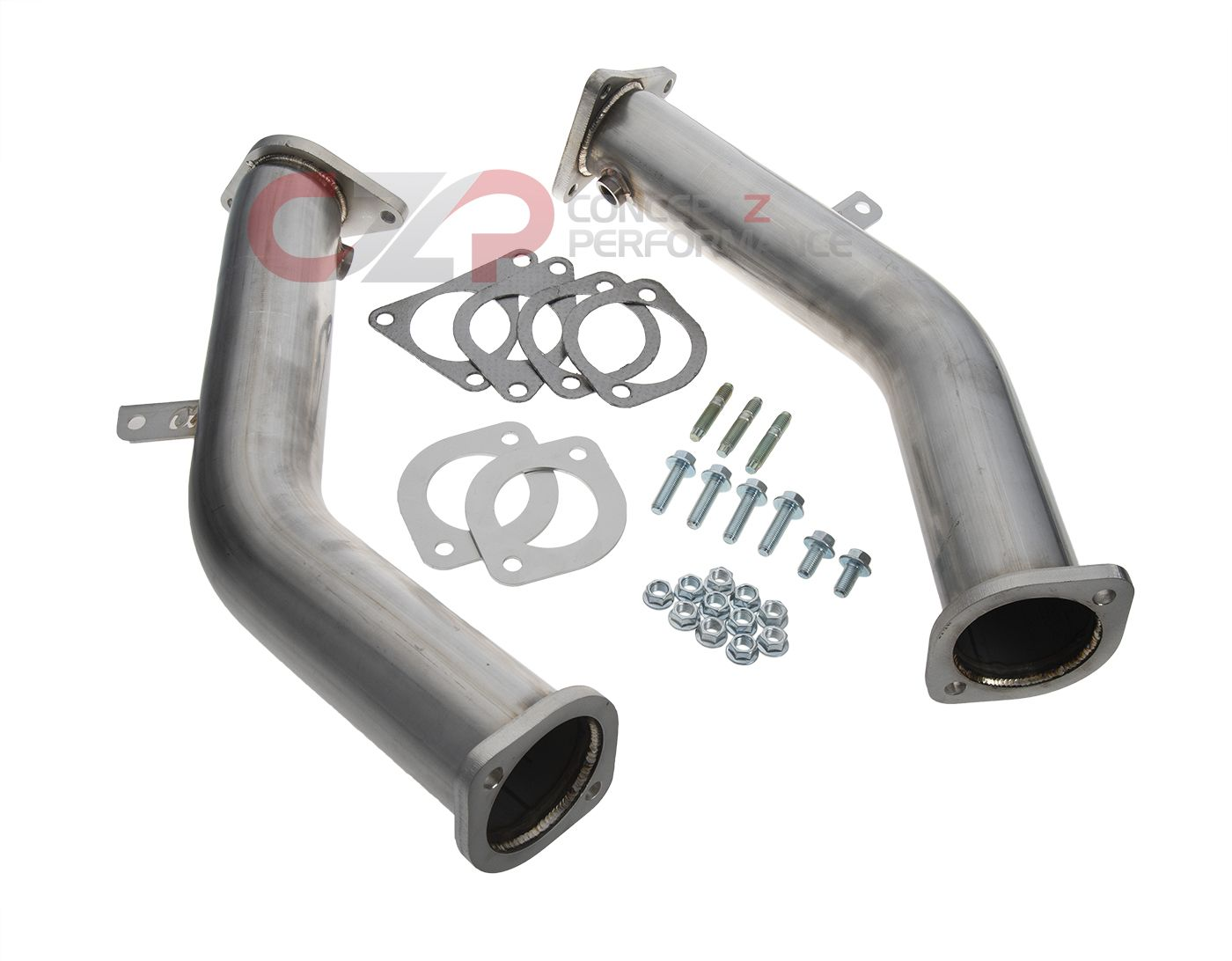"AMS Performance Red Alpha Stainless Steel Lower 3"" Downpipes - Infiniti Q50 / Q60 3.0t Silver / Red Sport VR30DDTT"