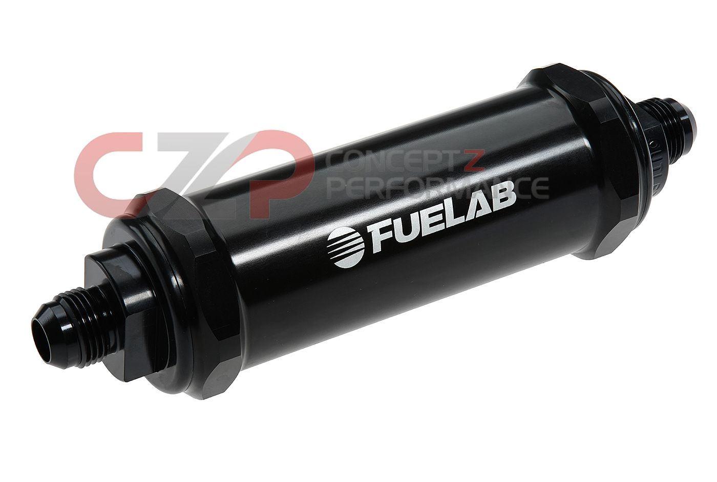 "Fuelab 828 Series 6 Micron Fiberglass, 5"" Long Length w/ -6 AN Ports In-Line Fuel Filter, Black"