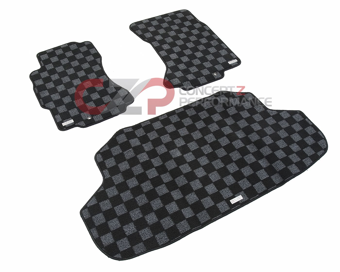 P2M Checkerboard Carpet Set, Black & Dark Gray Front Floor Mats + Trunk Mat - Nissan 300ZX Z32