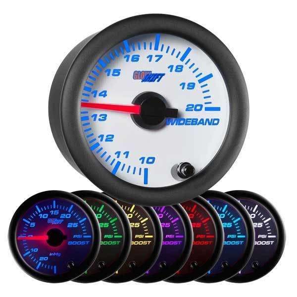 GlowShift  GS-W702-NWB White 7 Color Needle Wideband Air/Fuel Ratio Gauge