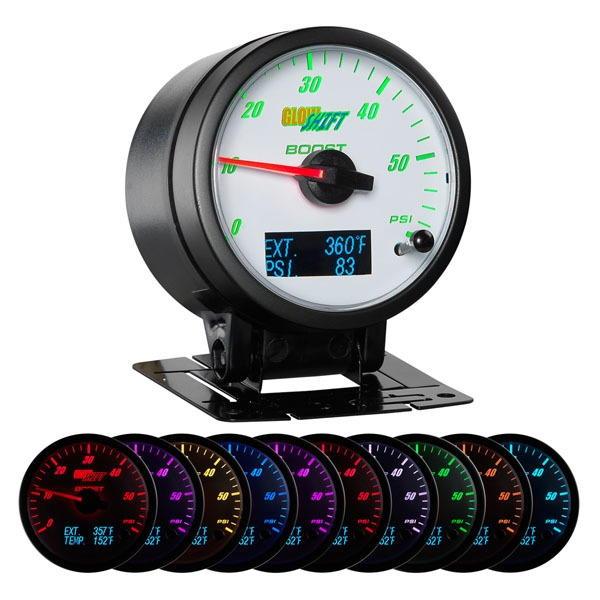 GlowShift  GS-3G-04 3in1 White Face Boost w/ Digital EGT & Pressure Gauge