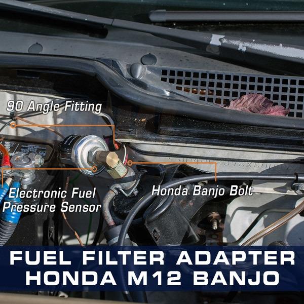 GlowShift Fuel Pressure Gauge Honda Banjo Bolt Adapter M12 x 1.25 to 1//8-27 NPT