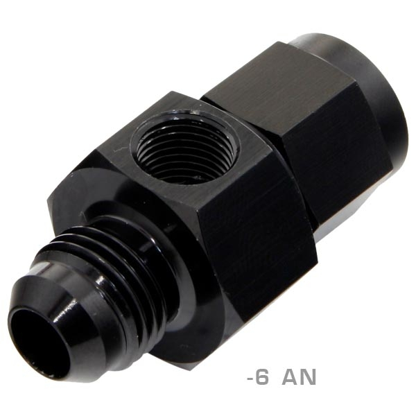 GlowShift  GS-FA-6-AN -6 AN to -6 AN w 1/8-27 NPT Port for Fuel Pressure Gauges