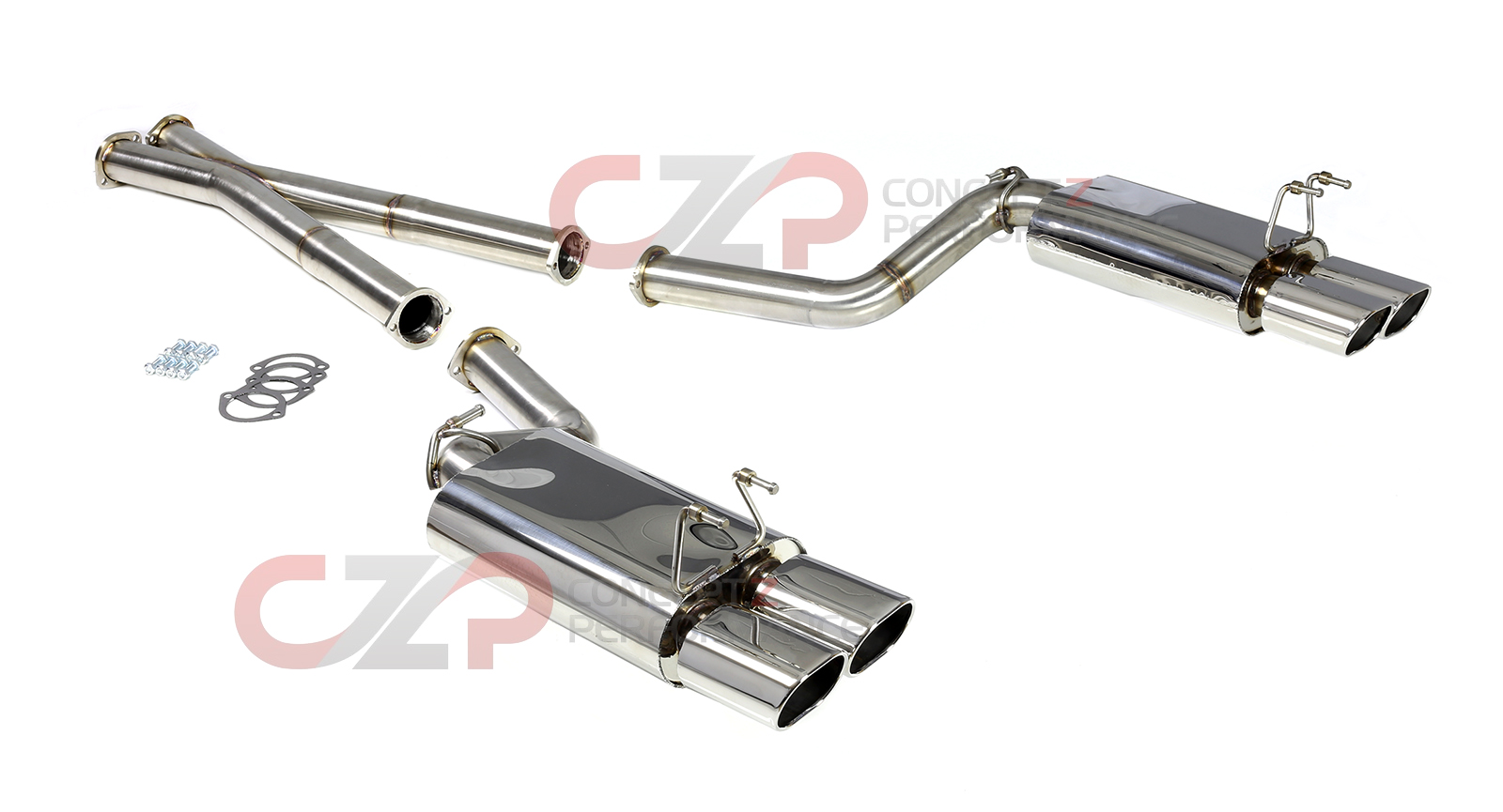"B&B Stainless Steel Catback Exhaust System, 3"" Pipe w/ Quad 4.5"" Oval Tips, 2+2 - Nissan 300ZX Z32"