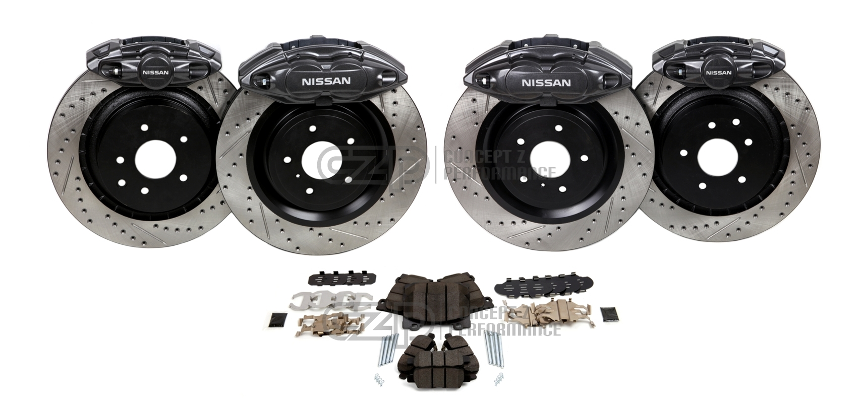 "Akebono Big Brake Kit, Front and Rear 14"" BBK - Nissan 370Z / Infiniti G35 G37 Q40 Q60 M35 M45"