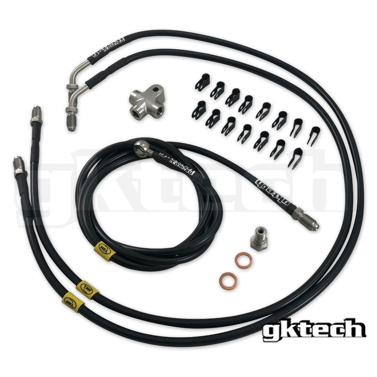 GKTech 2 Pot Nissan Stand Alone Ss Braided Brake Line Kit - Nissan Skyline R32 R33 R34, 300ZX Z32, 240SX S13 S14 S15
