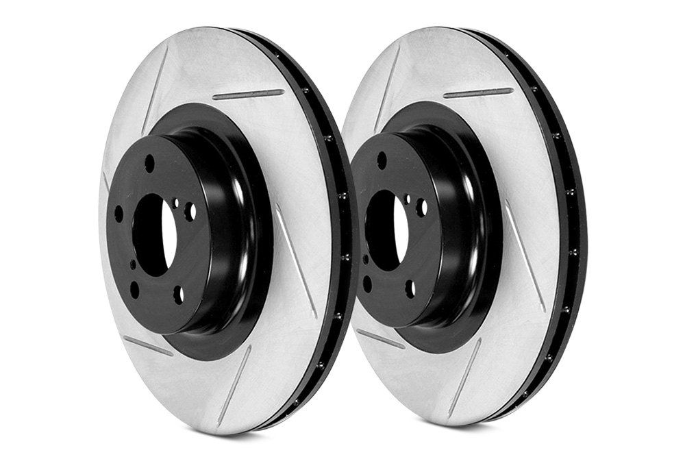 Stoptech Direct Replacement Rotors, Slotted, Rear Pair for Non-Sport Standard Brakes - Infiniti FX35 FX45 Q50 Q60