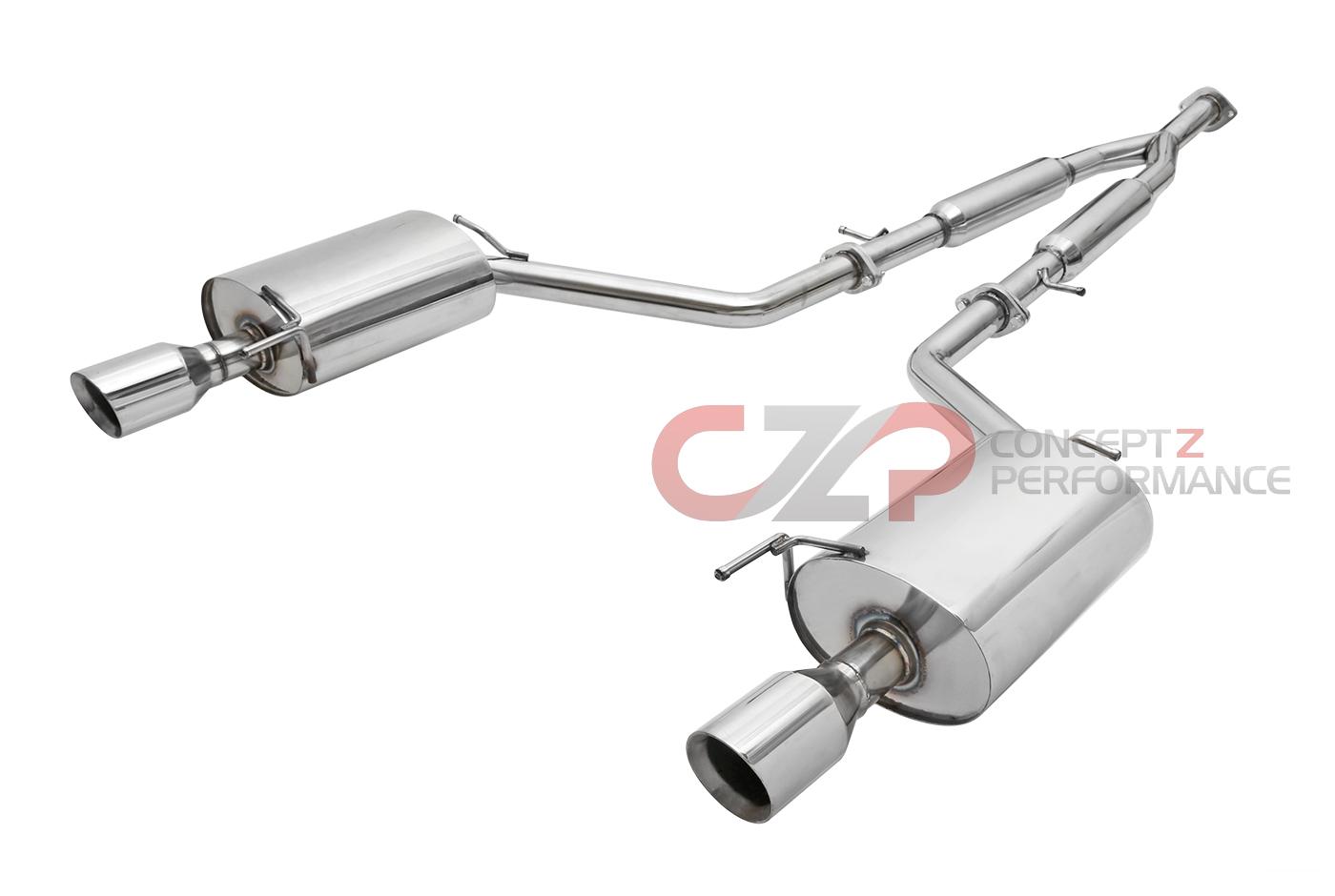 Manzo Y-Pipe Back Exhaust System w/ Dual Wall Beveled Tips - Infiniti G35 (VQ35HR), G37 Q40 RWD & AWD V36 Sedan