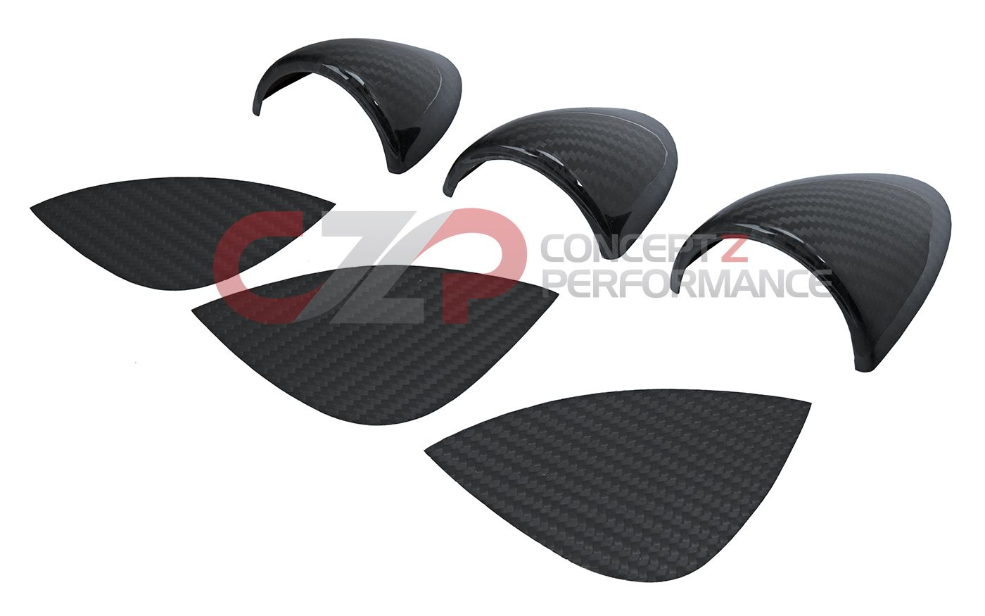 EVO-R Carbon Fiber Gauge Pod Covers, 6pc  - Nissan 350Z Z33