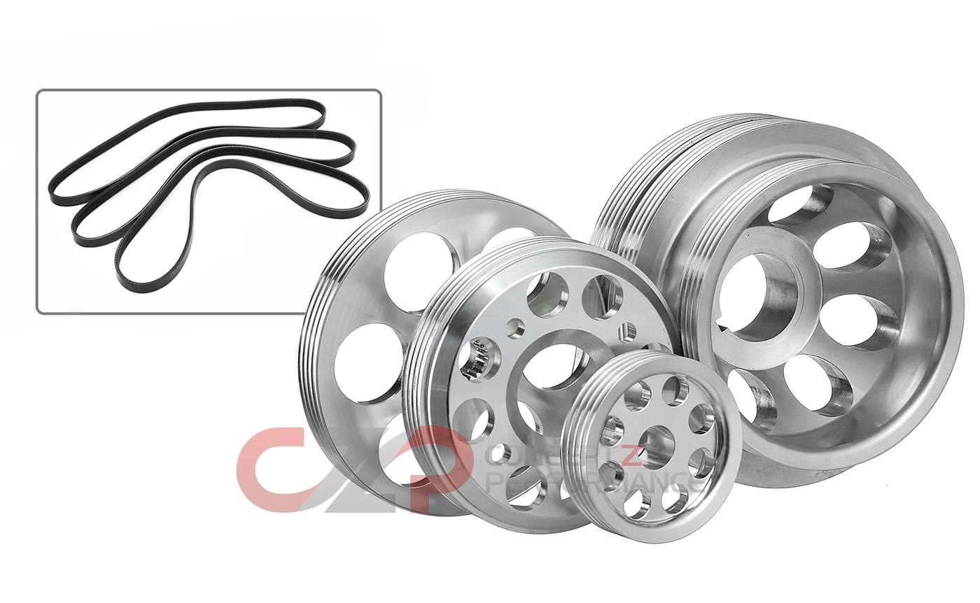 Unorthodox Racing Pulley Set with Overdrive Water Pump Pulley and Belts - Nissan 300ZX Z32