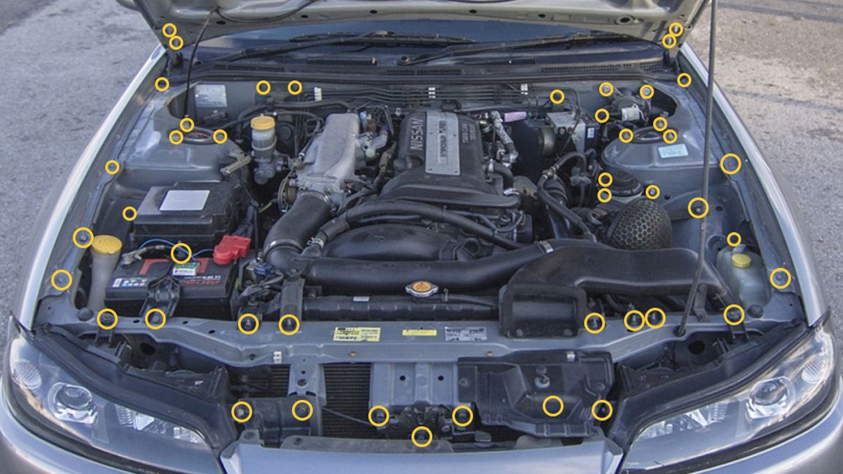 Dress Up Bolts Titanium Dress Up Kit, Full Engine Bay Kit - Nissan 240SX  S15 NIS-055-TI NIS-055-TI-POL NIS-055-TI-PRP NIS-055-TI-BLU NIS-055-TI-GLD  NIS-055-TI-BLK NIS-055-TI-TB - Concept Z PerformanceConcept Z Performance