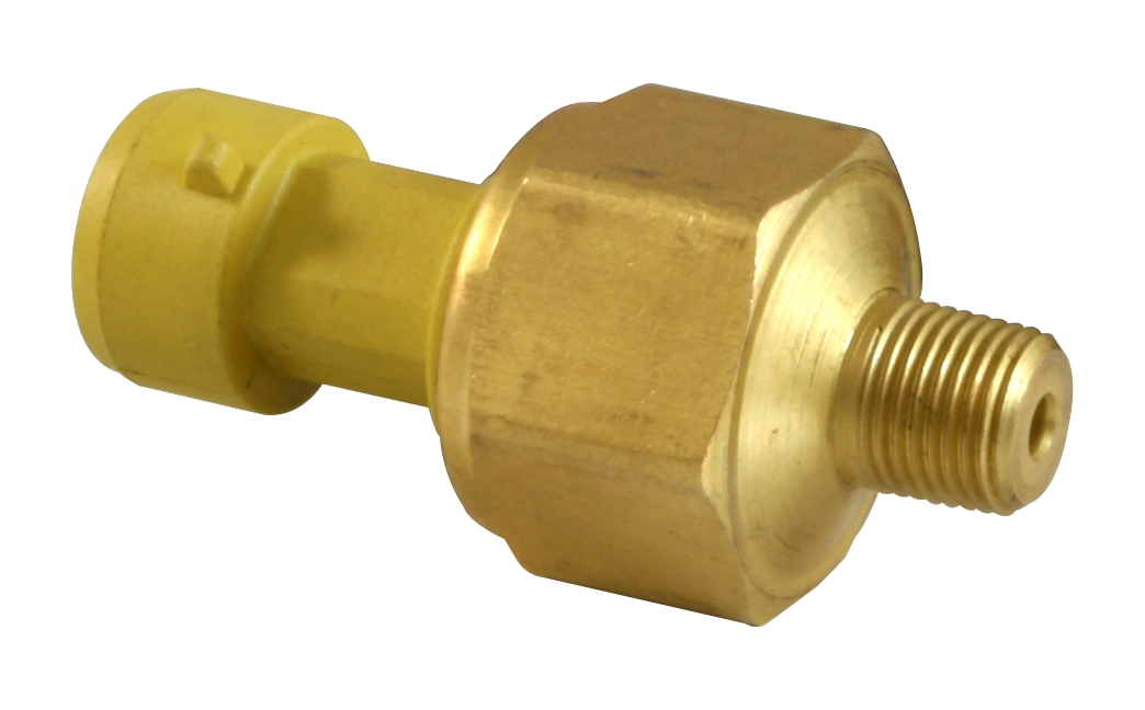 "AEM 150 PSIg Brass Sensor Kit. Brass Sensor Body. 1/8"" NPT Male Thread. Includes: 150 PSIg Brass Sensor, Connector & Pins"