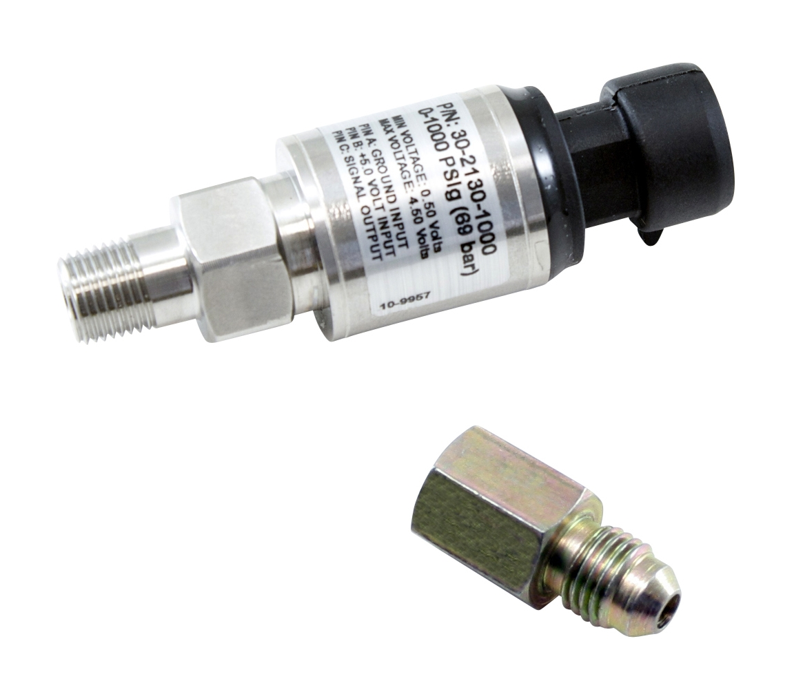 "AEM 1000 PSIg Stainless Sensor Kit. Stainless Steel Sensor Body. 1/8"" NPT Male Thread. Includes: 1000 PSIg Stainless Sensor, Connector, Pins & 1/8"" NPT to -4 Adapter"
