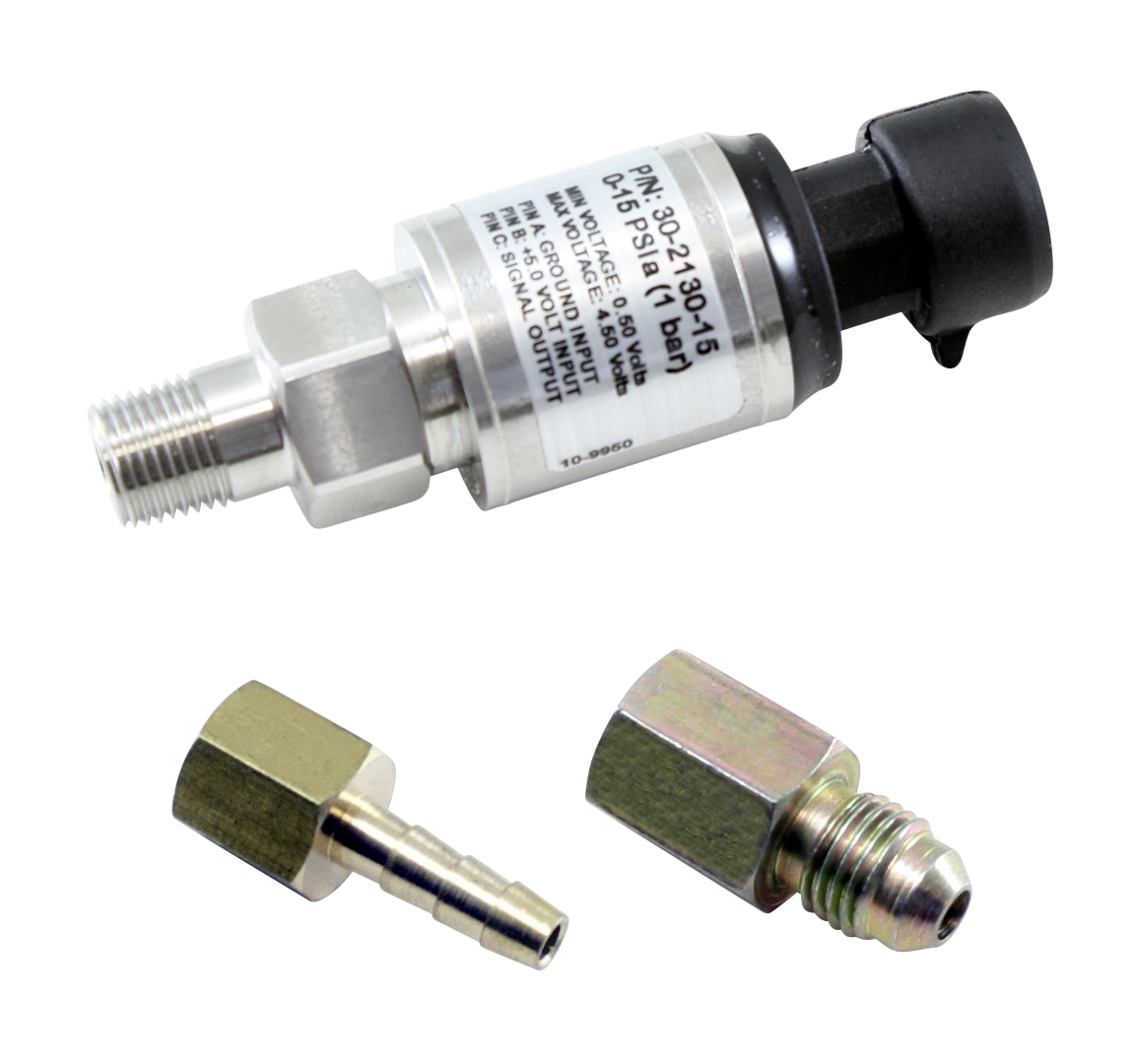 "AEM 15 PSIa or 1 Bar Stainless Sensor Kit. Stainless Steel Sensor Body. 1/8"" NPT Male Thread. Includes: 15 PSIa or 1 Bar Stainless Sensor, Connector, Pins, 1/8"" NPT to -4 Adapter & 1/8"" NPT to 3/16"" Barb Adapter"