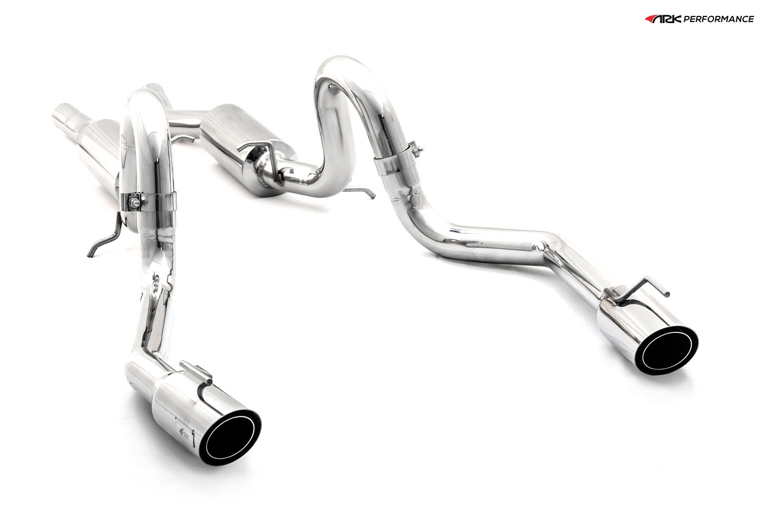 Ark Performance Stainless Steel DT-S Cat-Back Exhaust System 2.5in Pipe w/ 4.0 Polished Single Tip, Dual Exit - Ford Mustang 99-04 4.6L V8 4TH GEN