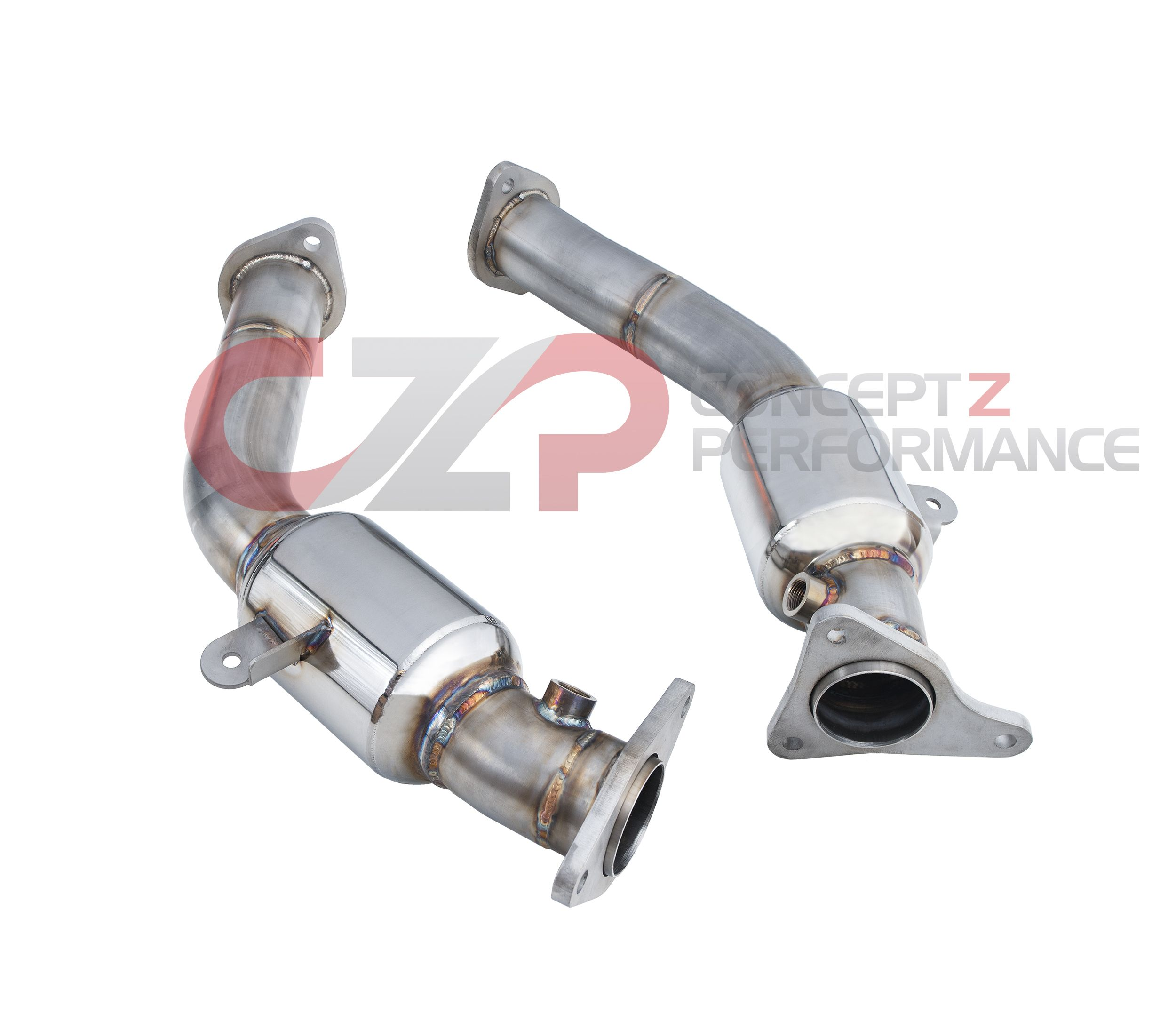 "NEW: CZP by PPE Stainless Steel Lower Downpipes, 2.5"" Resonated - Infiniti Q50 / Q60 3.0t Premium / Red Sport RS400 VR30DDTT"