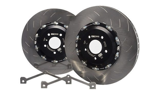 EBC Racing 2-Piece Replacement Front Rotors w/ Hardware & Hats 390mm x 34mm - Nissan GT-R 09-11 R35